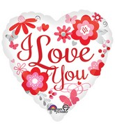 Jumbo I Love You Floral Balloon Packaged