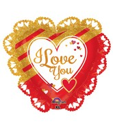 "23"" SuperShape Intricates Gold & Red Love Balloon"