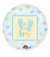 "18"" Baby Steps Boy Mylar Balloon"