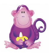 "28"" SuperShape Jungle Party Monkey Balloon Packaged"