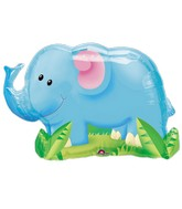 "33"" SuperShape Jungle Party Elephant Balloon Packaged"