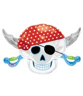 "28"" SuperShape Pirate Party Skull Balloon Packaged"