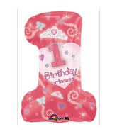 Super Shape First Birthday Princess Girl Mylar Balloon