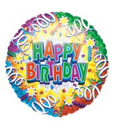 "18"" Holographic Birthday Explosion Balloon Packaged"