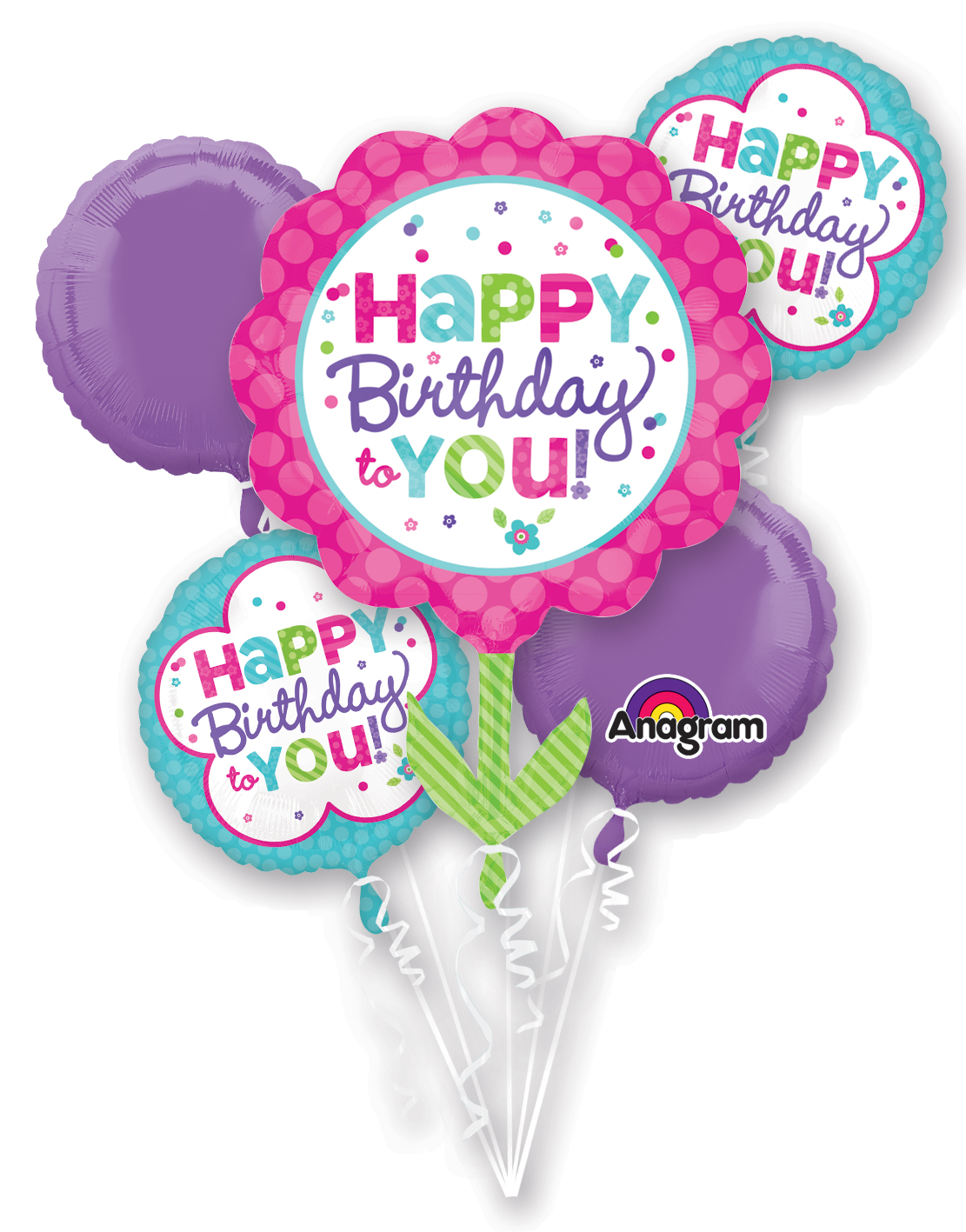 Bouquet Pink & Teal Birthday Balloon Packaged