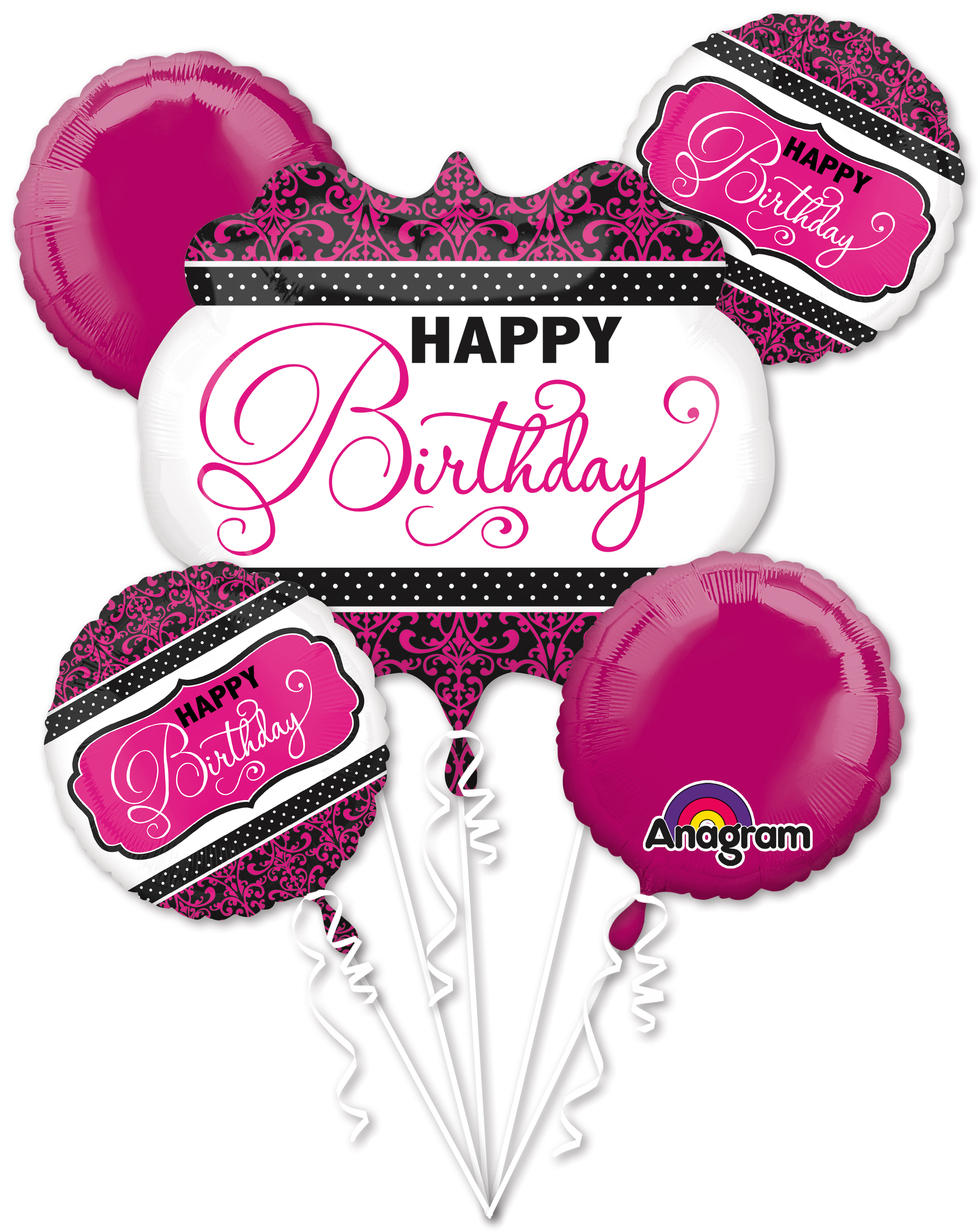 Bouquet Pink, Black, White Birthday Balloon Packaged