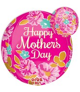 "16"" Orbz Happy Mother&#39s Day Pink Flowers Balloon Packaged"