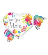 "27"" Jumbo Love You Mom Watercolor Balloon Packaged"