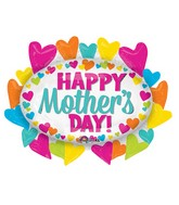 "31"" Jumbo Happy Mother's Day Hearts Marquee Balloon"
