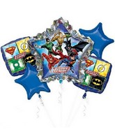 Bouquet Justice League Birthday Balloon Packaged