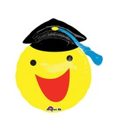 "20"" Happy Smiley Face Grad Balloon Packaged"