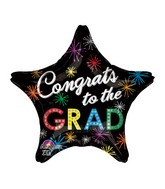 "18"" Congrats to the Grad Bursts Balloon Packaged"