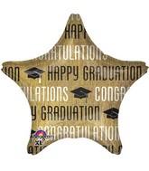 "18"" Happy Graduation Gold & Black Balloon"