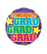 "18"" Junior Shape Grad, Grad, Grad Balloon"