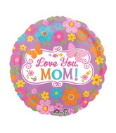 "28"" Jumbo Love Mom Flowers & Butterflies Balloon"