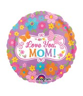 "4"" Airfill Only Love Mom Flowers & Butterflies Balloon"