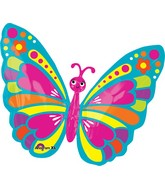 "26"" Happy Spring Butterfly Balloon Packaged"