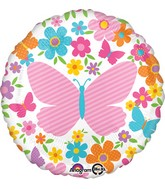 "18"" Pink Butterfly & Flowers Balloon Packaged"