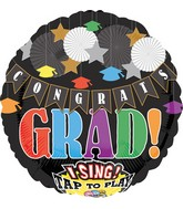 "28"" Singing Balloon Celebrate & Congrats Grad Packaged"