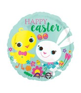 "18"" Easter Playful Chick & Bunny Balloon Packaged"