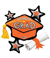 "31"" Jumbo Congrats Grad Orange Cluster Balloon"