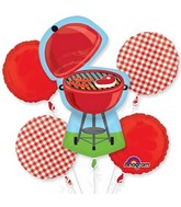 Bouquet Red Gingham BBQ Balloon Packaged