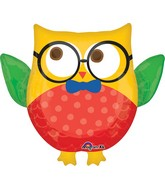 "30"" Jumbo Hip Hip Hooray Grad Owl Balloon Packaged"