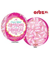 "16"" Orbz Jumbo Magical Birthday Balloon Packaged"