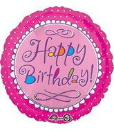 "18"" Happy Birthday Pink Scallop Balloon Packaged"