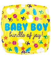 "21"" Junior Shape Baby Boy Icons Balloon Packaged"