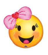 "18"" Happy Emoji wtih Bow Balloon"