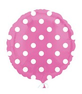 "18"" Bright Pink Dots Balloon Packaged"