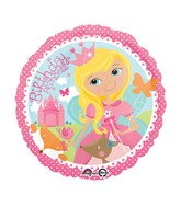 "18"" Woodland Princess Happy Birthday Balloon Packaged"