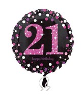 "18"" Pink Celebration 21 Balloon Packaged"