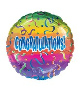 "18"" Congrats Rainbow Balloon Packaged"