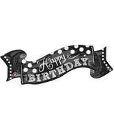 "40"" Jumbo Black & White Chalkboard Birthday Balloon"
