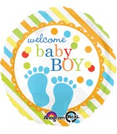 "18"" Baby Feet Boy Balloon Packaged"