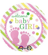 "18"" Baby Feet Girl Balloon Packaged"