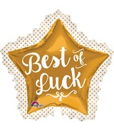 "34"" Best of Luck Gold Star Balloon"