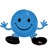 "19"" Airfill Only Happy Face Blue Balloon Packaged"