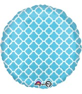 "18"" Blue and White quatrefoil Balloon"