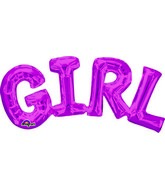 "22"" Airfill Only Phrase "" Girl"" PINK Balloon Packaged"