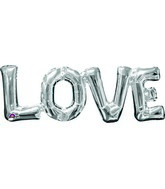 "25"" Airfill Only Jumbo Phrase "" LOVE"" Silver Balloon"