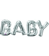 "26"" X 9"" Jumbo Phrase ""BABY"" Silver Balloon Packaged"