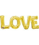 "20"" Airfill Only Jumbo Phrase "" LOVE"" Gold Balloon"