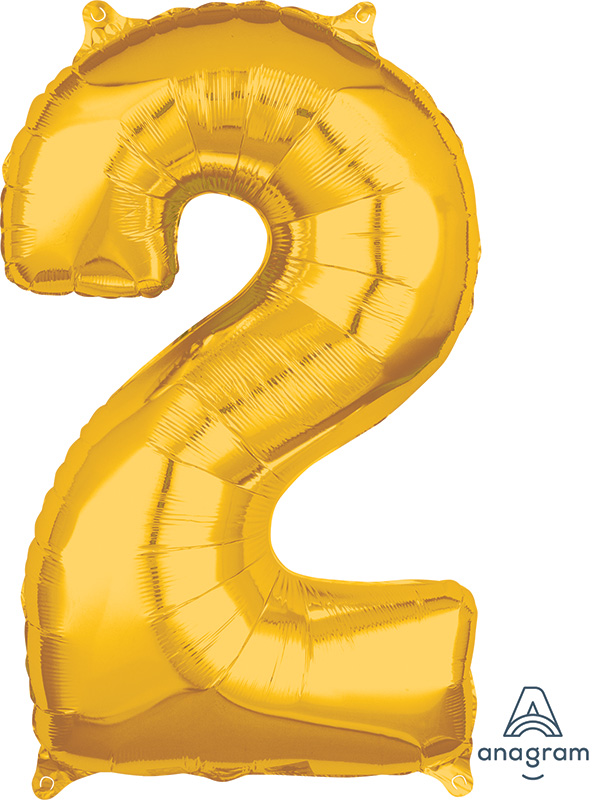 "26"" Number ""2"" Gold Mid-Size Shape Foil Balloon"