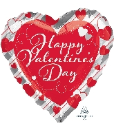 "18"" Happy Valentine's Day Red Heart & Silver Stripes Balloon"