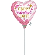 "4"" Airfill Only Happy Valentine's Day Pink & Gold Balloon"