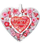 "26"" Happy Valentine's Day Heart with Flowers Insider"