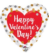 "18"" Happy Valentine's Day Gold & Silver Dots Balloon"